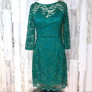 Liza Luxe Medium Green Stretchy Lace Fitted Dress